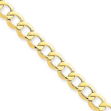 Men's 6.5mm, 14k Yellow Gold, Hollow Curb Link Chain Necklace, 20 Inch