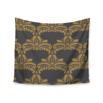 "Nandita Singh ""Decorative Motif Gold"" Copper Floral Wall Tapestry"