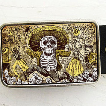 Day of the Dead Skeleton Belt Buckle by bmused