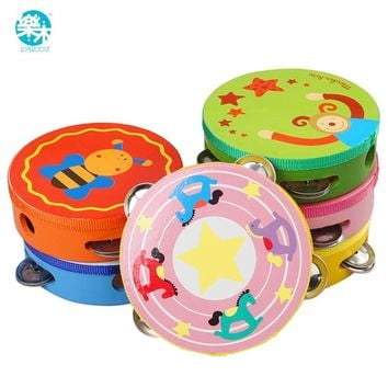 Wooden Baby Drum toy Musical instruments for children percussion instruments hang drum musical handbells baby toys music