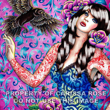 Lowbrow Pin Up Girl With Tattoos and Raven Watercolor Portrait Art Print by Carissa Rose appx 11x14