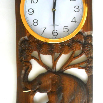 "Teak Wood Carving Elephant With Clock Home Wall Hanging Home Art  Decor Hand Carved 24.5""x10.5"""