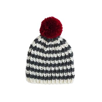 Charcoal and white stripe with red pompom knitted hat