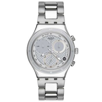 Swatch YCS549G Men's Oblique Silver Dial Stainless Steel Chronograph Watch