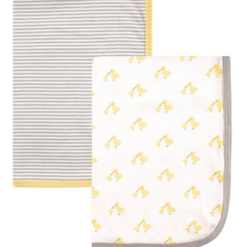 30'' x 30'' Gray Stripe & Yellow Duckling Receiving Blanket Set