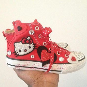 ONETOW hello kitty theme inspired custom bling converse