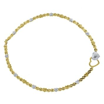 Hearts & Kisses Links Necklace in Solid 10k Yellow & White Gold 17 Inch