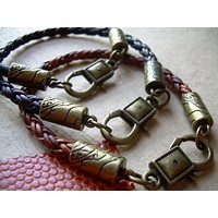 Leather Bracelet, Antique Bronze, Lobster  Clasp, Mens Bracelet, Mens Jewelry