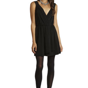 Faux-Wrap Contrast Straps Dress in Black - BCBGeneration