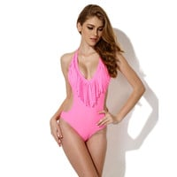 Summer New Arrival Hot Sexy Swimsuit Beach Swimwear Pink Tassels Bikini [6532788999]