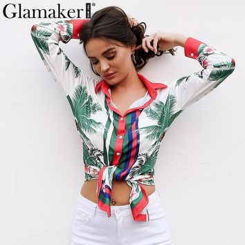 Glamaker Floral print long sleeve casual blouse shirt Women turn down collar blouse blusas Female auutmn button blouse tops 2017
