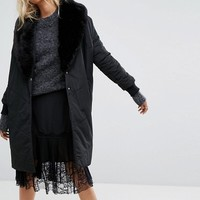 Religion Oversized Padded Coat With Faux Fur Shawl Collar at asos.com