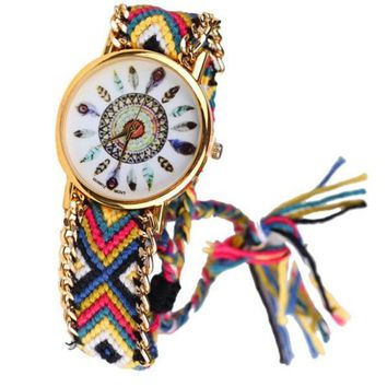Wrist Watch Feather Face with Handmade Friendship Bracelet