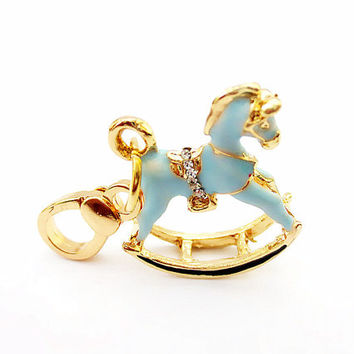 Charm Blue Hobbyhorse Austrian Crystal in Gift Bag-Juicy Couture style