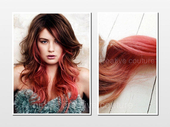Tape Hair Extensions, Ombre, Dip Dye, from Ninas Creative ... Light To Dark Dip Dye