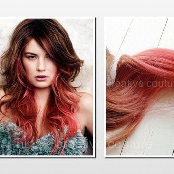 "Tape Hair Extensions, Ombre, Dip Dye, Light brown/Dark Blonde Hair Extensions dipped in coral, 18"", 20 Pieces"