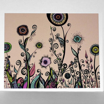 Abstract Ink Flowering Landscape in Rainbow by sometimesiswirl