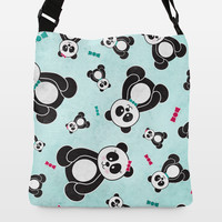 Panda Freefall in Teal Adjustable Strap Tote by noondaydesign on BoomBoomPrints
