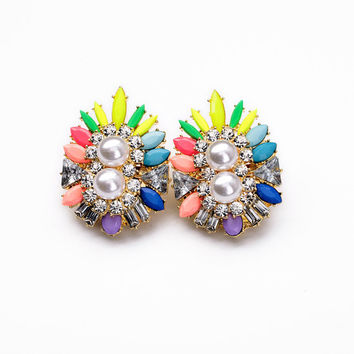 Shourouk Inspired Earring Jewelry Gemstone Flower Earring Stud Earrings Beaded Dangle Earrings Party Earring Jewelry Des boucles d'oreilles