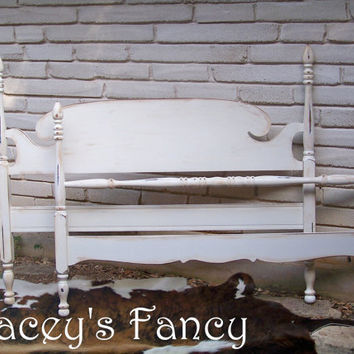 Vintage Painted Cottage Shabby Full Bed by TraceysFancy on Etsy