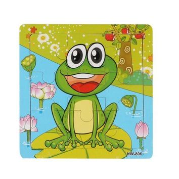DCCKU7Q 2016 Hot Sell good Quality Animal Puzzle Frog Pattern Puzzles Wooden Toy Kids Children Education Brain Teaser Puzzles Toys