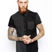 ASOS Shirt In Short Sleeve With Stripe Panel