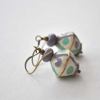 Purple Earrings, Dangle Earrings, Lampwork Glass Earrings, Artisan Glass Earrings, Geometric Earrings