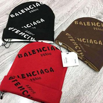 BALENCIAGA Autumn Winter Fashionable Couple Jacquard Knit Hat Cap