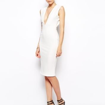 Solace London Grace Knee Length Dress With Plunge Neck