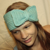 Light Aqua Bow Ear Warmer