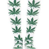 WHITE PLANTLIFE KNEE SOCKS