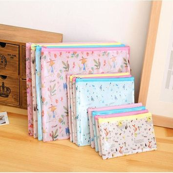 Kawaii Forest Plant Animals Bird Fox A4 A5 B6 Pencil Bag File Document Bag PVC File Folder Stationery Filing School  7.51