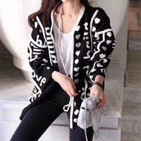 VONE05C Gucci' Women Loose Fashion Heart-shaped Letter Knit Long Sleeve Cardigan Sweater Coat