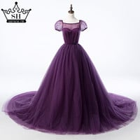 Ball Gown Purple Pregnant Photography Dresses  Romantic Vintage Wedding Gowns Lace Up Sash 2017 Sexy SHE2
