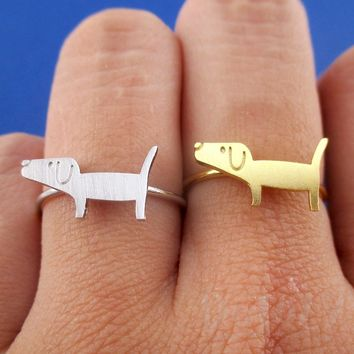 Cute Dachshund Wiener Dog Shaped Adjustable Ring in Silver or Gold