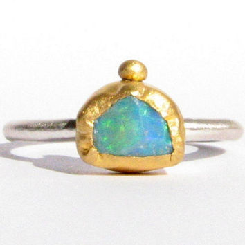 Natural Rough Ethiopian Welo Opal Ring - 24k Solid gold and Silver Ring - Gemstone Ring - Stacking Ring.