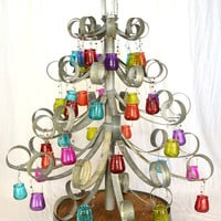 Wine Barrel Ring Holiday Tree w/candle holders - made from Napa Wine Barrel Rings -100% recycled