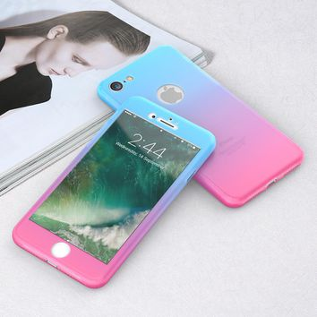 KISSCASE Gradient 360 Case For iPhone 6 6s Plus 7 7 Plus Hit Colorful Full Body Protector Phone Cover For iPhone 6 6s Accessory