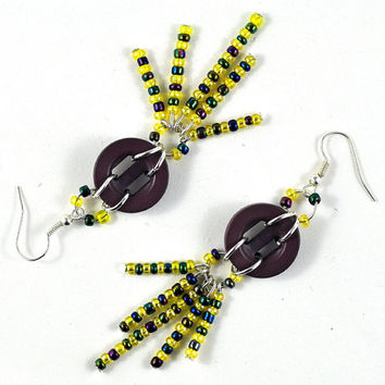 Upcycled Dangle Button Earrings with Purple and Yellow Seed Beads Recycled Jewellery