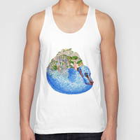 Cinque Terre Landscape Dragon Unisex Tank Top by Emily Joan Campbell