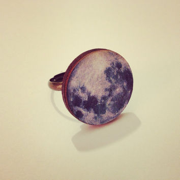 Blue Full Moon Ring  by RabbitJewellery on Etsy