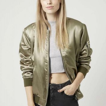 Spring and autumn street solid color satin long-sleeved loose wild flight jacket