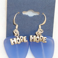 SEAE01 Sterling Silver Sea Glass Earrings with Sterling Silver Hope