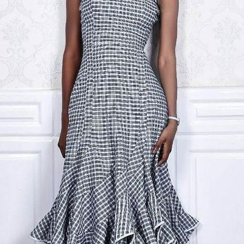 White-Black Plaid Pleated Ruffle Round Neck Sleeveless Elegant Midi Dress