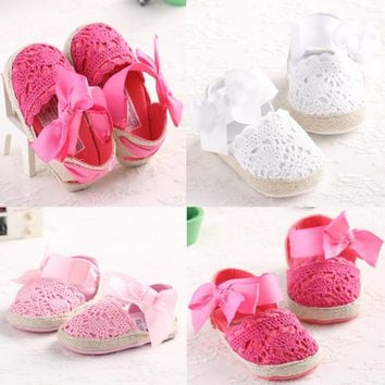 Lovely Infant Toddler Princess First Walkers Newborn Baby Girls Kid Prewalker Soft Soled Shoe Bow Dress Knitting Shoes Footwear