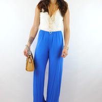 (anj) Deep pleasure royal blue jumpsuit