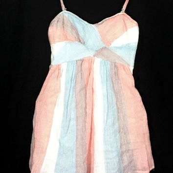 Free People Slip Dress Smock Spaghetti Strap Pastel Striped Red Blue Purple XS - Preowned