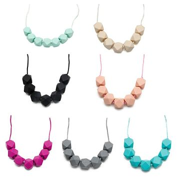 1 Piece Silicone Polygon Beads Teething Necklace