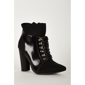 Black Block Heel Pointed Toe Lycra And Patent Ankle Boots