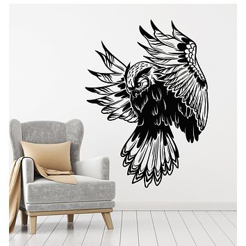 Vinyl Wall Decal Owl Night Forest Bird Flying Tribal Kids Room Stickers Mural (g2608)